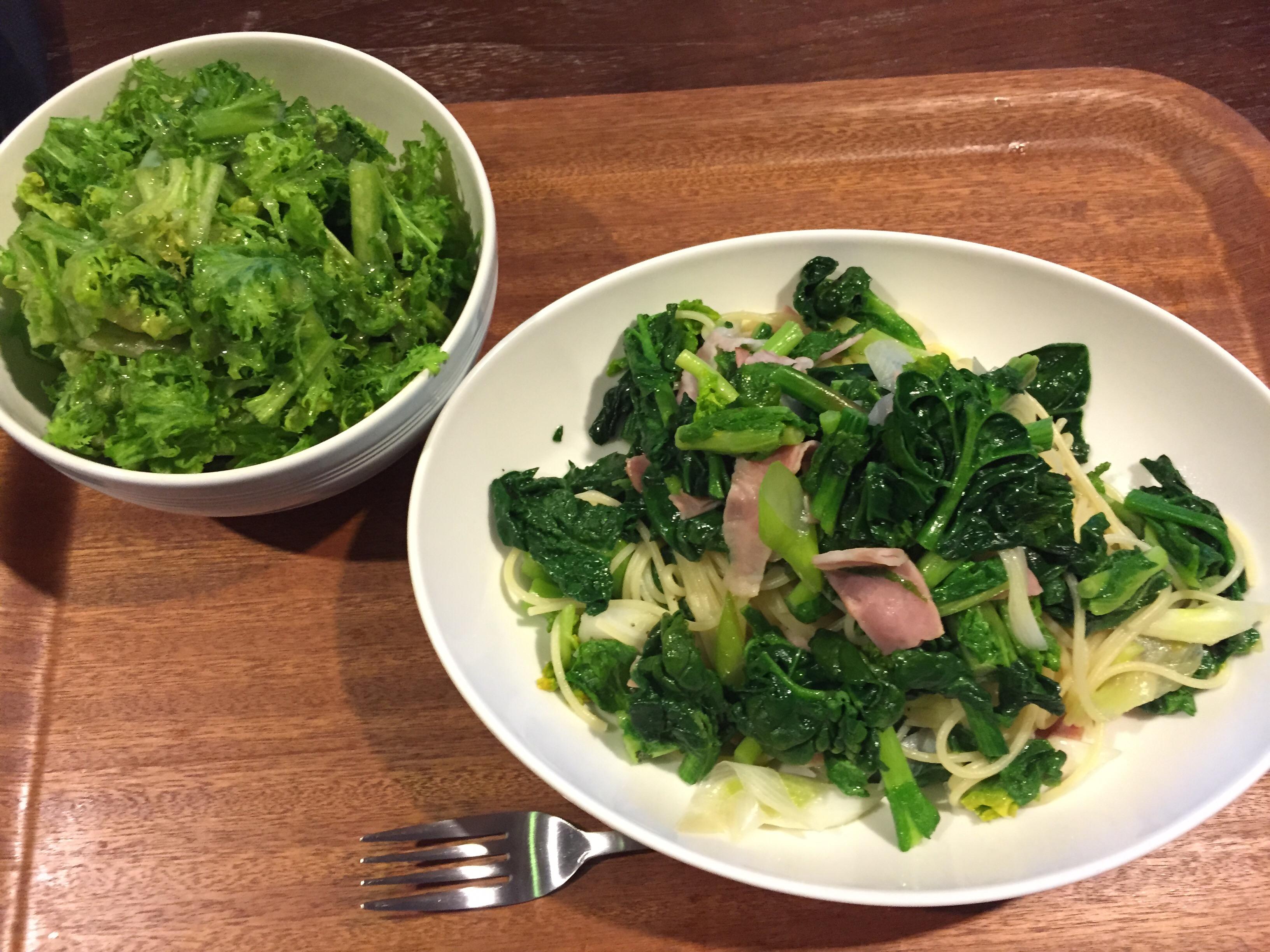 菜の花・ちぢみほうれん草のパスタとわさび菜